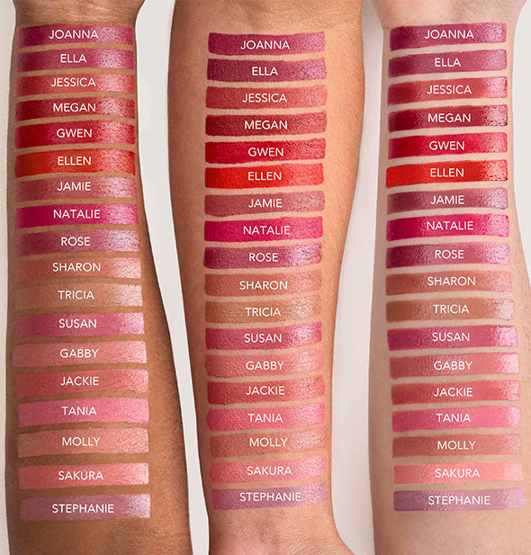 Samples of Jane Iredale Triple Luxe Long Lasting Naturally Moist Lipsticks on three models' arms of varying skin tones.