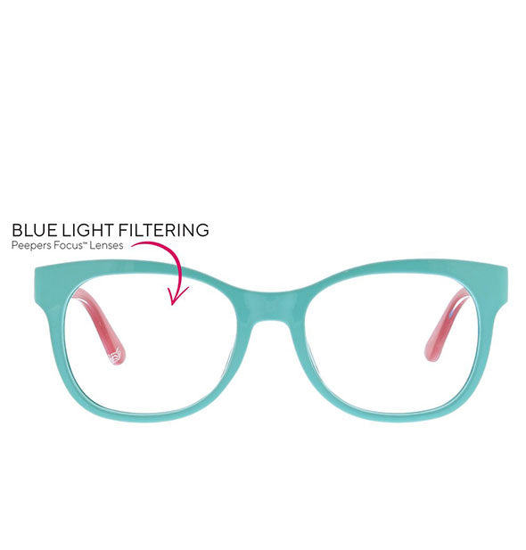 Front view of Peepers Light Bright Readers in Aqua/Blue with text indicating lenses are blue light filtering.