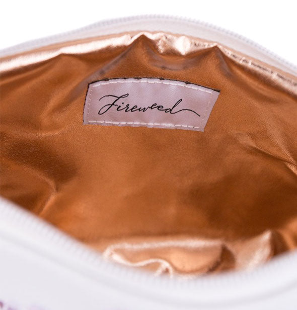 Metallic gold pouch interior with sewn-in Fireweed label shown