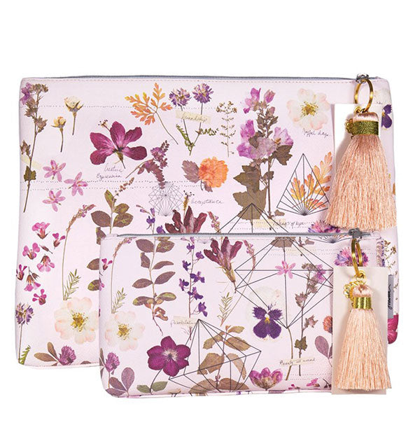 Large and small floral pouches with tassel charms