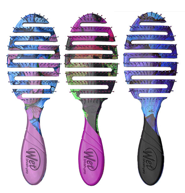 Grouping of three Wet Brush Pro vented hairbrushes with butterfly designs
