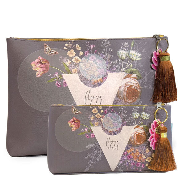 Small and large gray Flower Child pouches with bronze tassel pulls