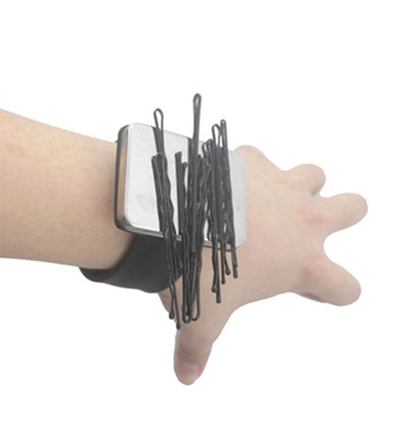 Black with Silver Magnetic Bobby Pin Holder Silicone Slap Band