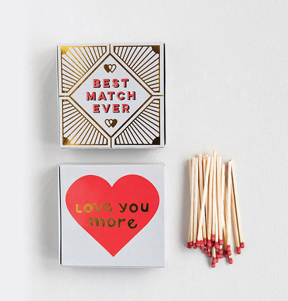 Square matchboxes with small pile of matches