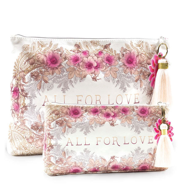 Decorative pink floral All for Love accessory pouches in small and large sizes