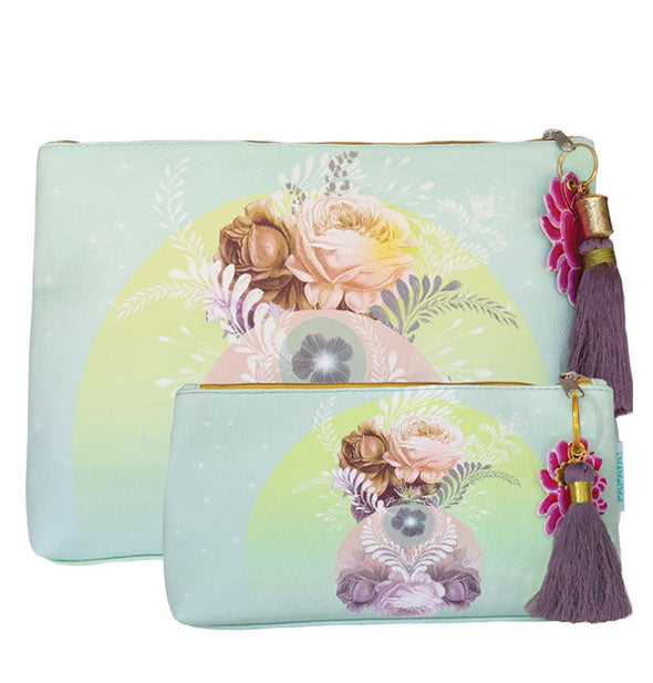 Large and small aqua pouches with floral artwork and purple tassel pulls