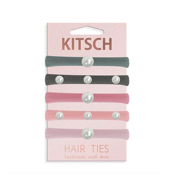 5 Piece Pearl Hair Tie Set Variety of colors