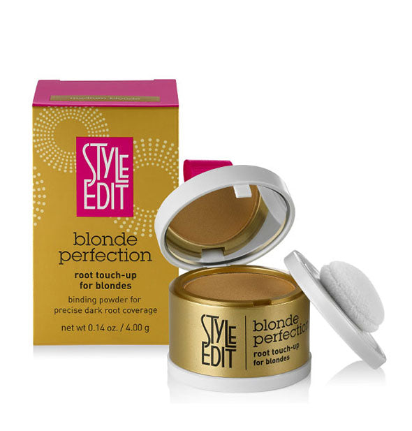 Style Edit Blonde Perfection Root Touch-Up Binding Powder compact showing mirror and sponge applicator.
