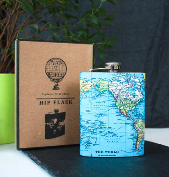 World map flask with box packaging