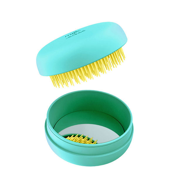Turquoise and yellow Macaron Hair Brush with mirror
