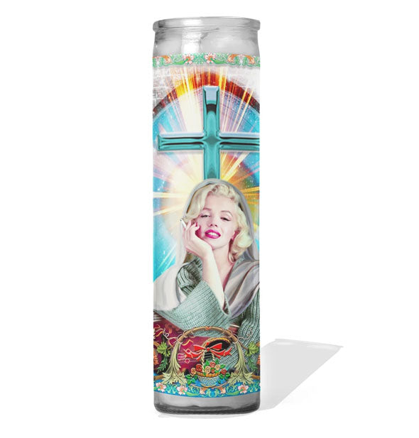 Prayer candle depicting movie star Marilyn Monroe as a saint
