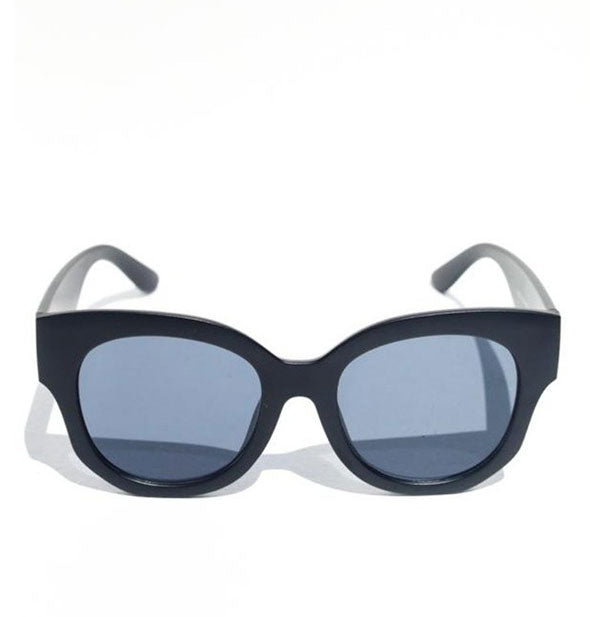 Front view of black sunglasses with blue-gray lens tint