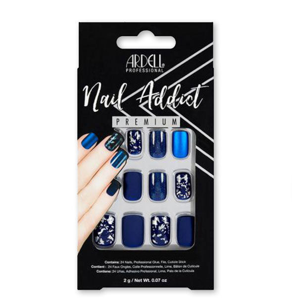 Press On Nails Matte Blue and Silver Shatter