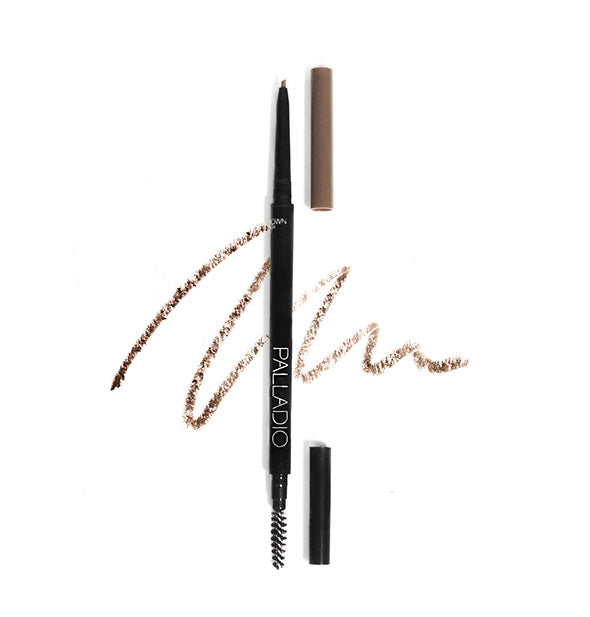 Two Palladio Brow Definer Micro Pencils, one with caps on and one with caps off to show spoolie and pencil tips, in the shade Medium Brown.