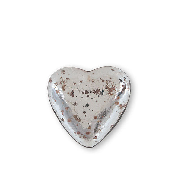 Mottled mercury glass heart token with shiny finish