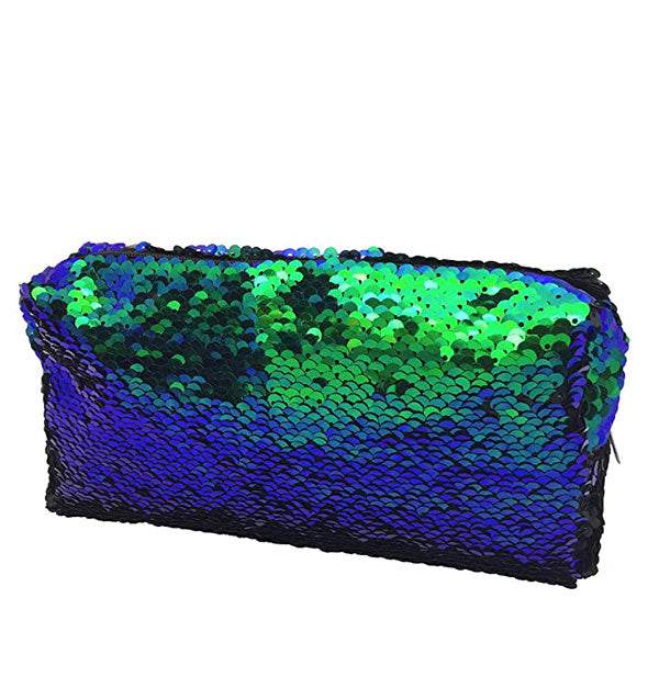 Blue and green sequined rectangular cosmetic bag.