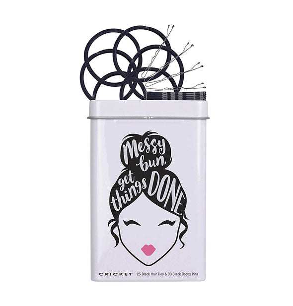 25 Black Hair Ties & 30 Black Bobby Pins White and Black TIn Messy Bun Get Things Done