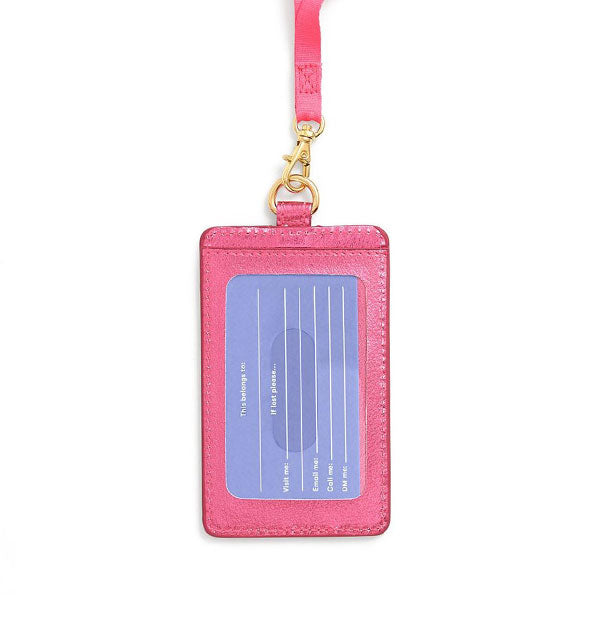 Metallic pink card case with ID window shown