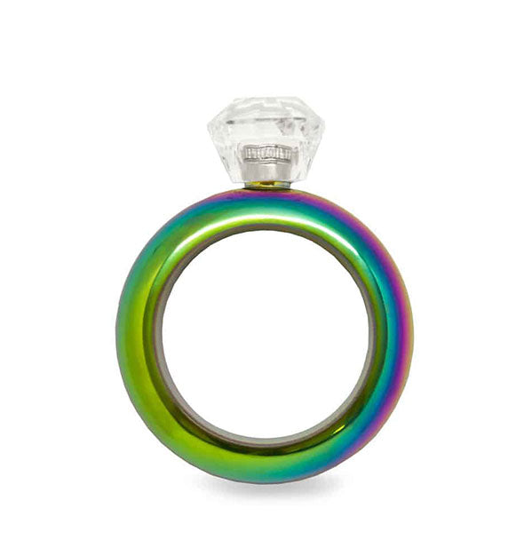 Metallic rainbow circular bracelet flask with clear plastic cap