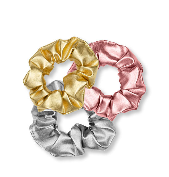 Set of three metallic hair scrunchies in gold, pink, and silver