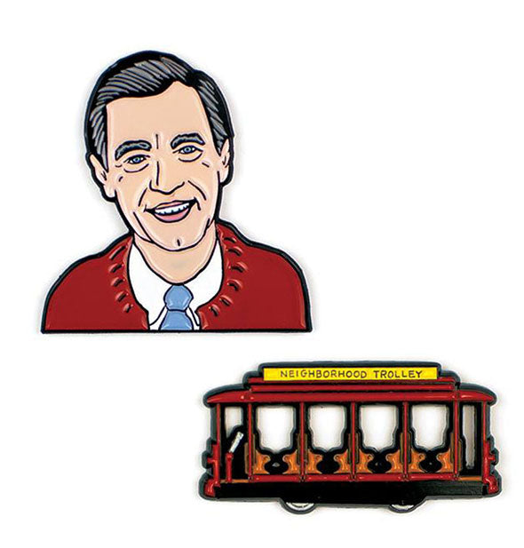A close up picture of Mister Rogers Enamel Pins Mr. Rogers and the Trolley