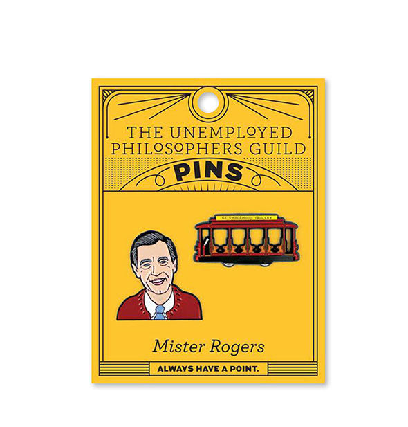 2 Mr. Rogers enamel pins Mr. Rogers and The Trolley