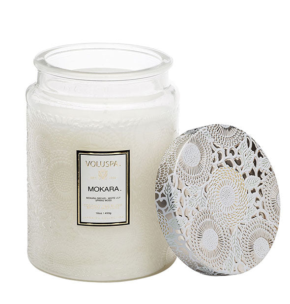 Mokara Large Embossed Glass Jar Candle 16 OZ 100 burn time