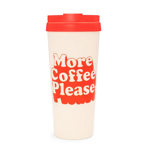 Cream Retro Thermal Mug with Red Text More Coffee Please