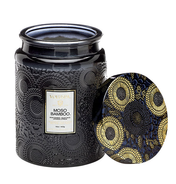 Moso Bamboo Large Embossed Glass Jar Candle 16 OZ 100 hr burn time