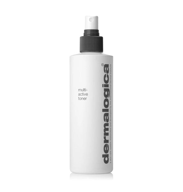White 250 ml bottle of Dermalogica Multi-Active toner with spray nozzle.