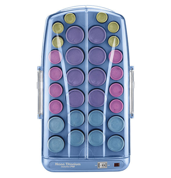 Set of 30 hot rollers in blue case with clear lid