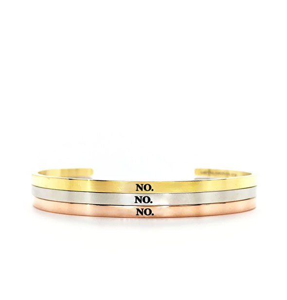 metal bracelets say no in gold silver and rose gold