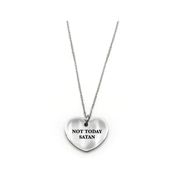 Metal  Not Today Satan Heart Necklace in silver
