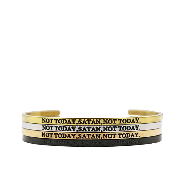 metal not today satan not today bracelets in gold silver rose gold and black