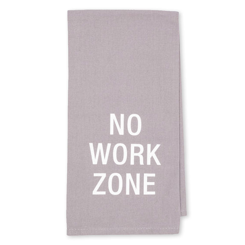 About Face Designs - No Work Zone Gray Dish Towel