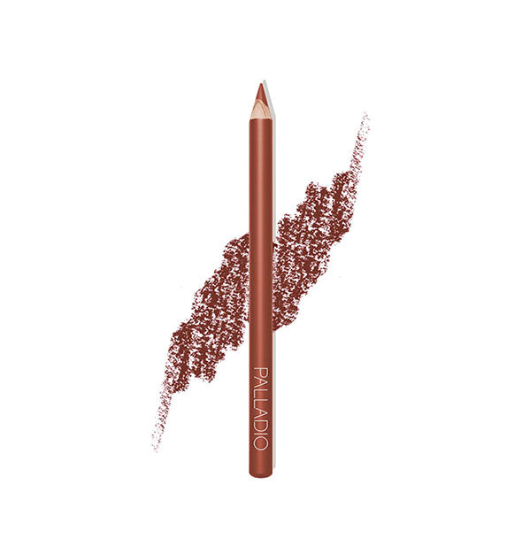 Palladio Lip Liner Pencil in the shade Nutmeg with pencil stroke swatch sample behind.