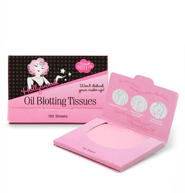 Two 100-sheet packets of Hollywood Fashion Secrets Oil Blotting Tissues, one shown open and the other shown closed