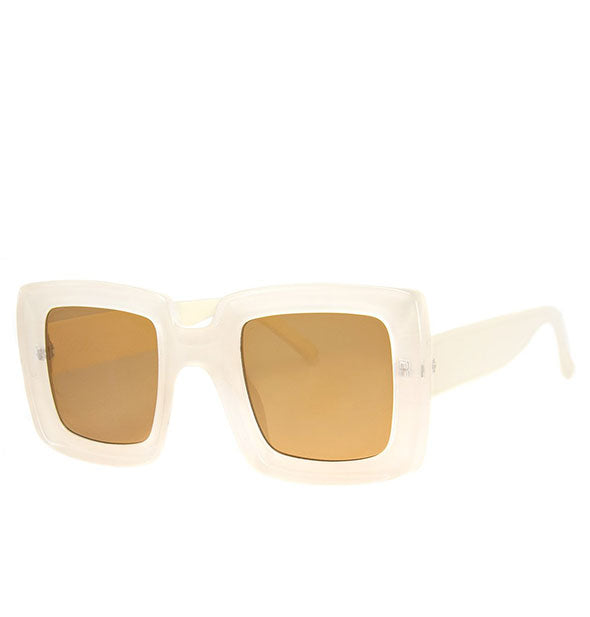 Pair of white square sunglasses with amber lens
