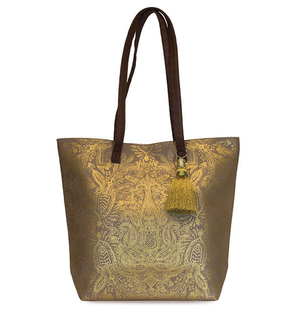 The Papaya Art - Paisley Gold Bucket Tote with gold tassel