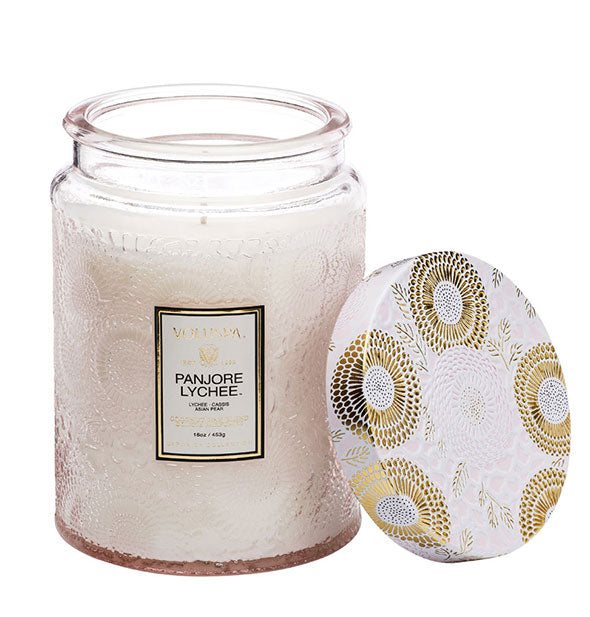 The Panjore Lychee Large Embossed Glass Jar Candle 16 OZ with 100 hr burn time