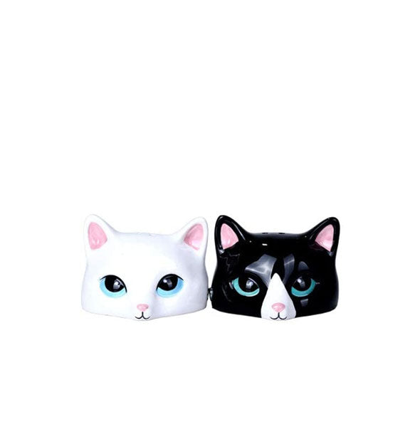 Black and white cat face salt and pepper shakers with painted facial details