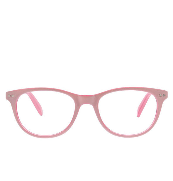 Front view of Peepers Mellow Out Readers in Pink.