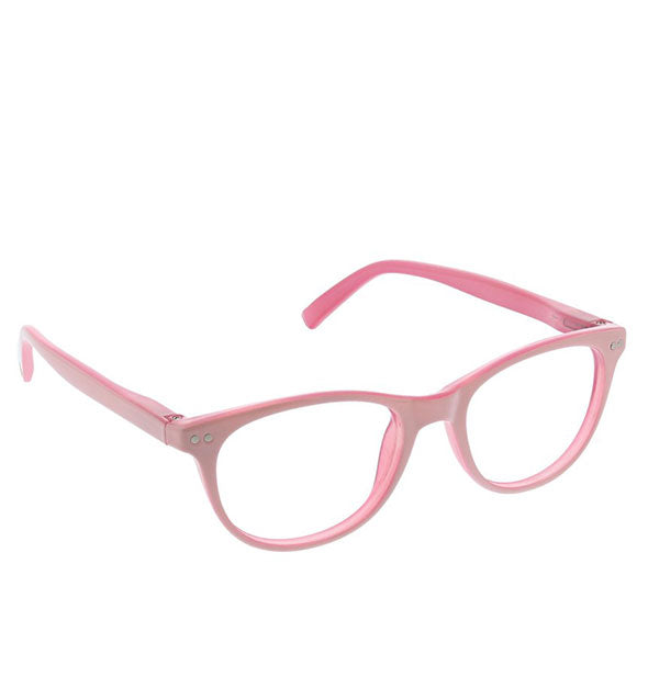 Angled view of Peepers Mellow Out Readers in Pink.