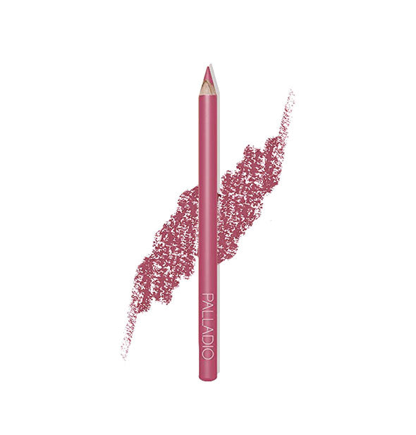 Palladio Lip Liner Pencil in the shade Pink Frost with pencil stroke swatch sample behind.