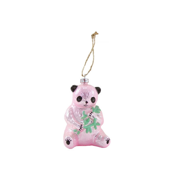 Pink panda with bamboo ornament