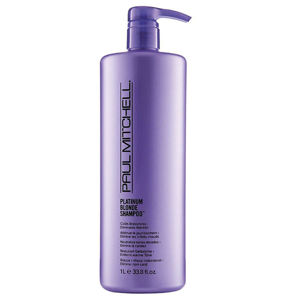 33.8 ounce bottle of Paul Mitchell Platinum Blonde Shampoo with pump nozzle