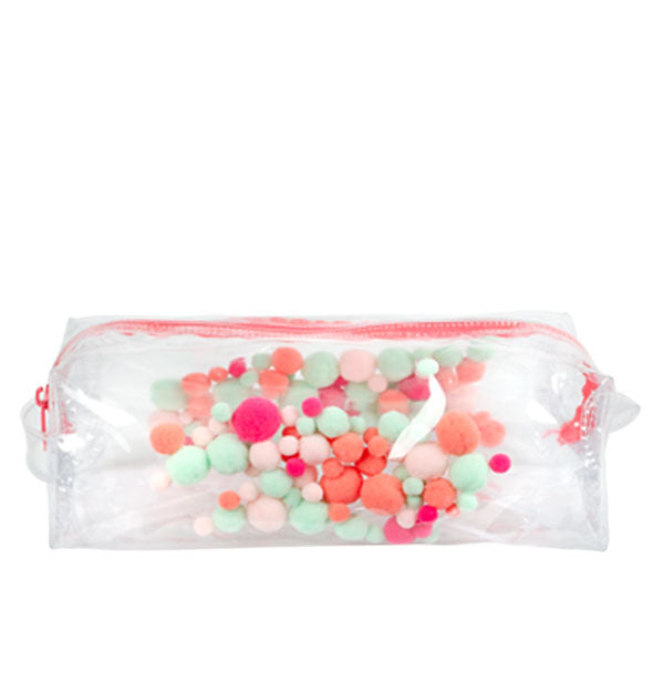 Clear vinyl pouch with red zipper and multicolored plush pom poms inside the shell