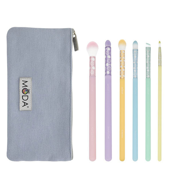 The Moda Posh Pastel 7-Piece Delicate Eye Kit - 6 brushes and  zip case by Royal Brush