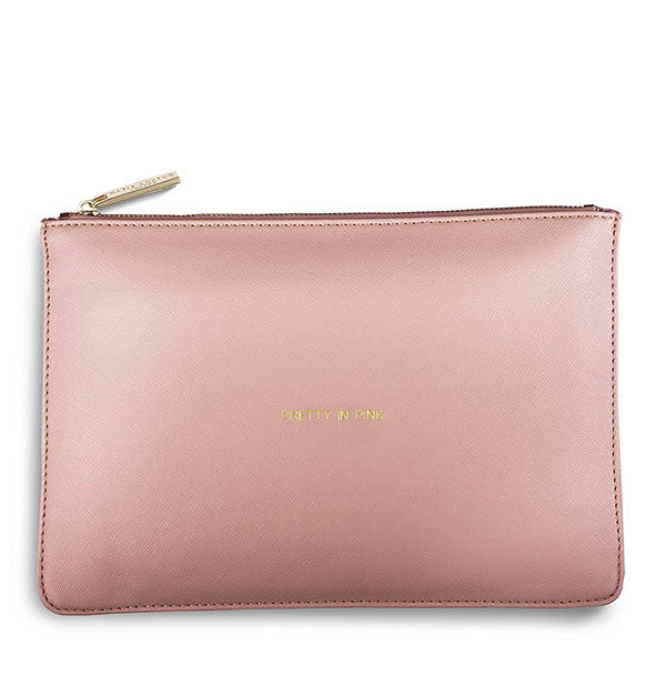 pink pouch with gold text pretty in pink