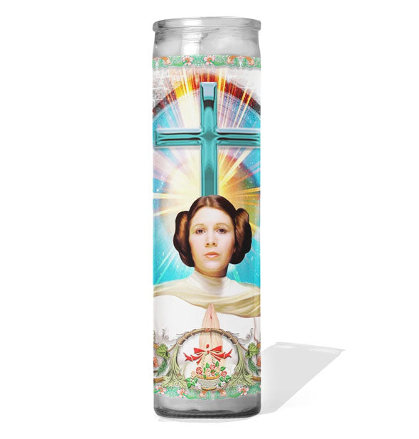 Glass prayer candle with image of Star Wars' Princess Leia